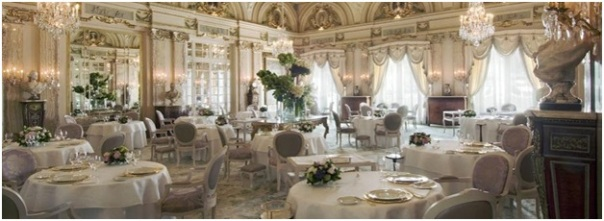 The dining room at Alain Ducasse's Le Louis XV in Monaco