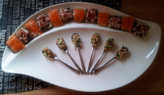 Christmas canapes - Smoked Salmon, Ham and Porcini, Brown Shrimp