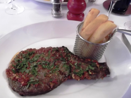 Steak, chimichurri and chips at Deanes, Belfast