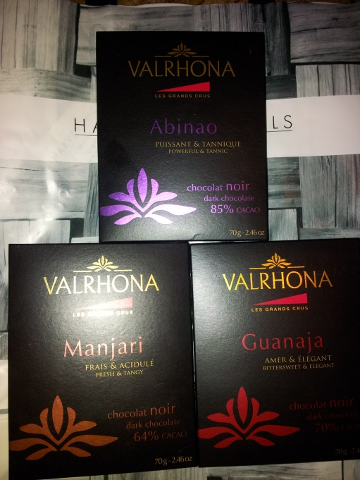 Valrhona Guanaja, Manjari and Albinao chocolate bars